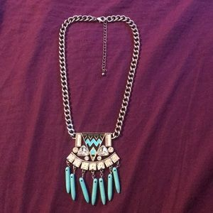 Turquoise Drop Statement Necklace